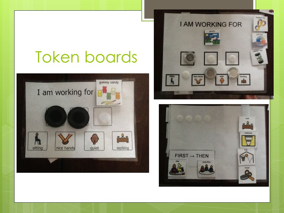 Behavior Contract  At the end of each class, teacher rates student on whether he met his behavioral goals  Circle smiley face or frowny face  Point system  Student returns contract to classroom teacher for reward, if earned.