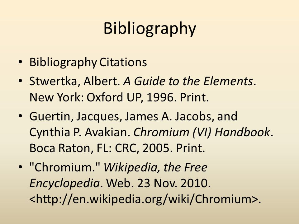 Bibliography Bibliography Citations Stwertka, Albert.