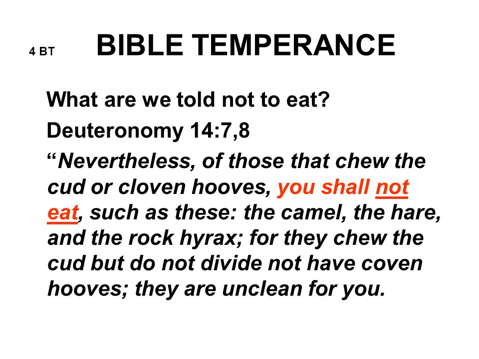 4 BT BIBLE TEMPERANCE What are we told not to eat.