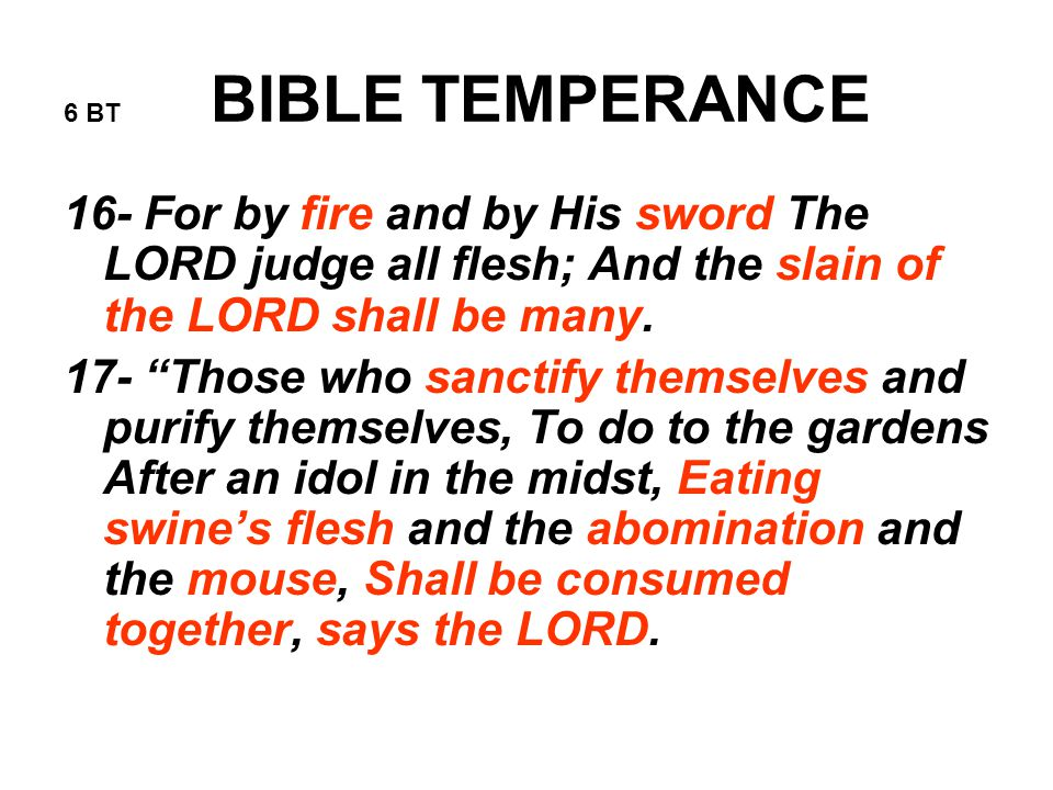 6 BT BIBLE TEMPERANCE 16- For by fire and by His sword The LORD judge all flesh; And the slain of the LORD shall be many.