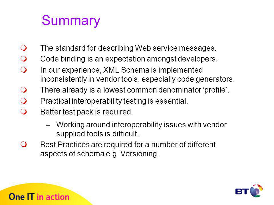 Summary  The standard for describing Web service messages.