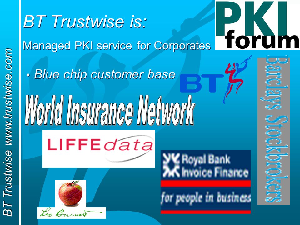 BT Trustwise www.trustwise.com BT Trustwise is: Managed PKI service for Corporates Blue chip customer base Managed PKI service for Corporates Blue chip customer base