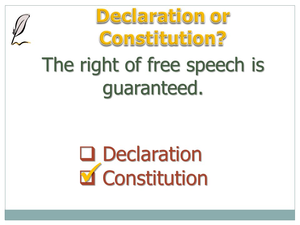 The right of free speech is guaranteed.  Declaration  Constitution