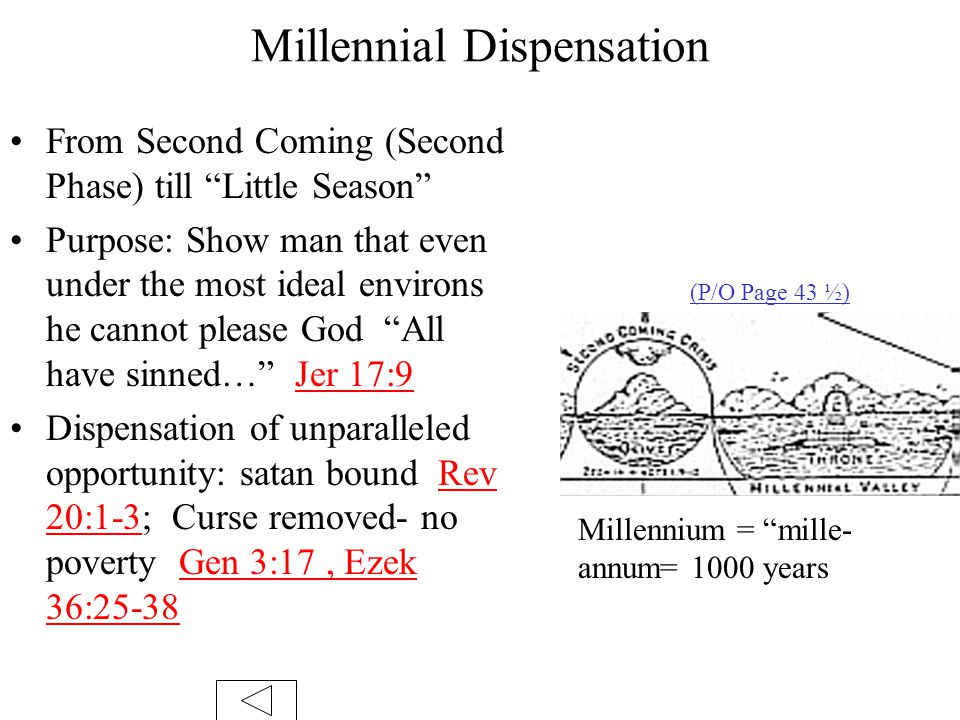 Millennial Dispensation From Second Coming (Second Phase) till Little Season Purpose: Show man that even under the most ideal environs he cannot please God All have sinned… Jer 17:9 Dispensation of unparalleled opportunity: satan bound Rev 20:1-3; Curse removed- no poverty Gen 3:17, Ezek 36:25-38 Millennium = mille- annum= 1000 years (P/O Page 43 ½)