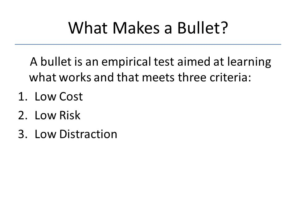 What Makes a Bullet.