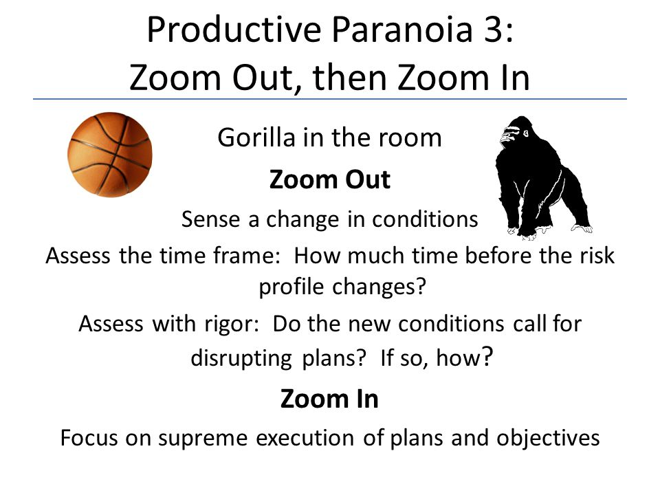 Productive Paranoia 3: Zoom Out, then Zoom In Gorilla in the room Zoom Out Sense a change in conditions Assess the time frame: How much time before th