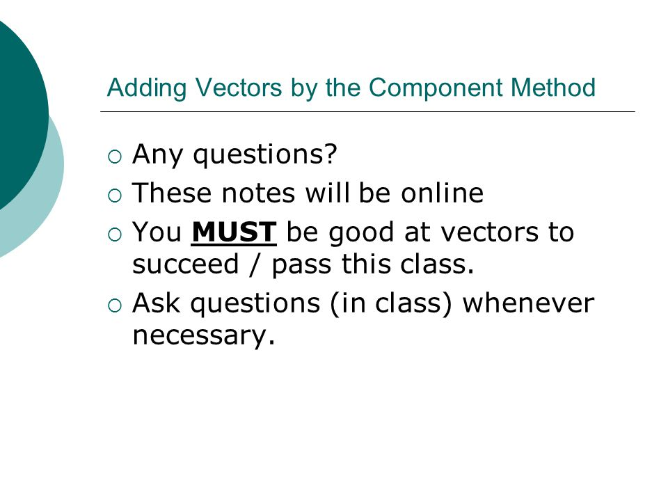 Adding Vectors by the Component Method  Any questions.