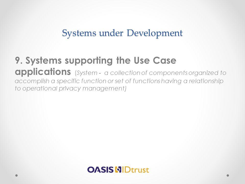 Systems under Development 9.