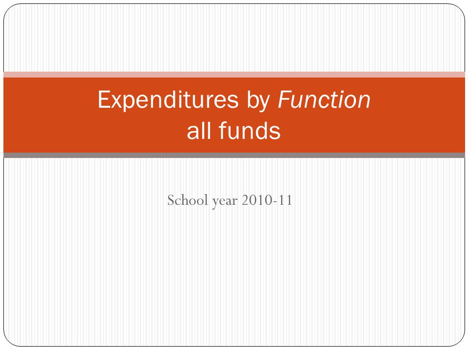 Function: Describes the activity a person performs or the purpose for which an expenditures is made.