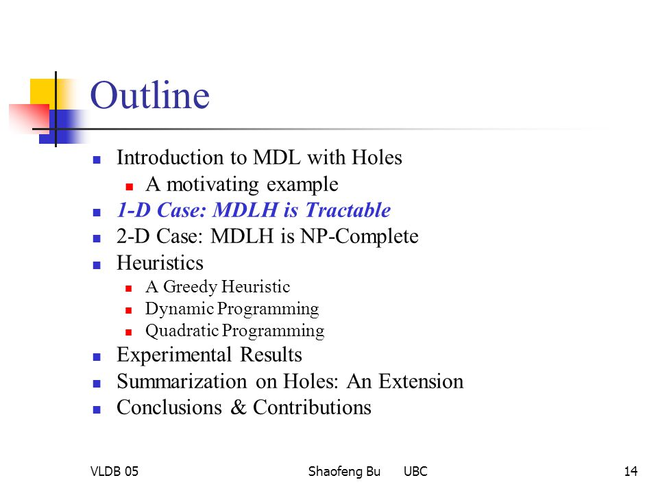 VLDB 05Shaofeng Bu UBC14 Outline Introduction to MDL with Holes A motivating example 1-D Case: MDLH is Tractable 2-D Case: MDLH is NP-Complete Heurist