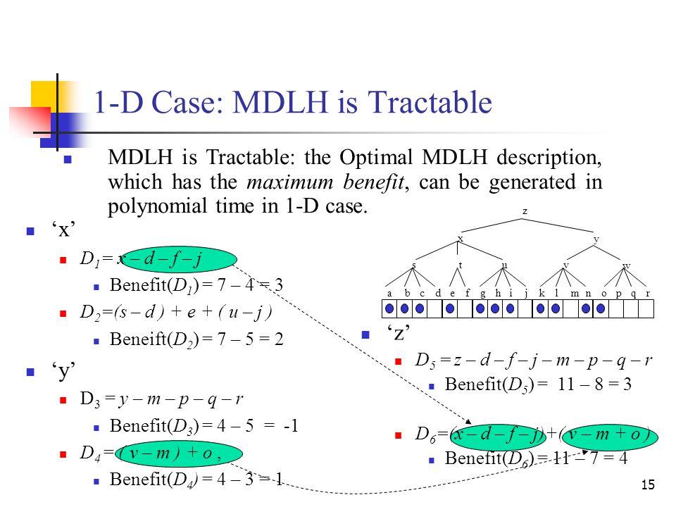 15 'x' D 1 = x – d – f – j Benefit(D 1 ) = 7 – 4 = 3 D 2 =(s – d ) + e + ( u – j ) Beneift(D 2 ) = 7 – 5 = 2 'y' D 3 = y – m – p – q – r Benefit(D 3 )