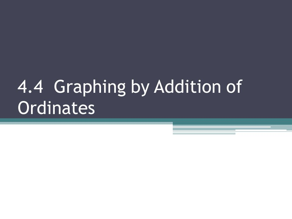 4.4 Graphing by Addition of Ordinates