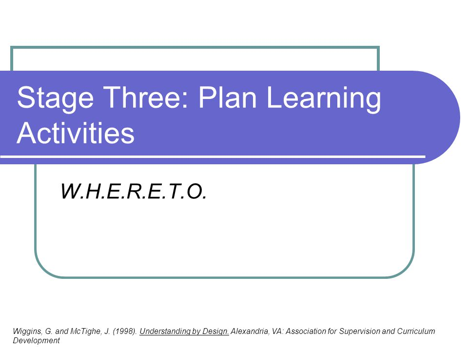 Stage Three: Plan Learning Activities W.H.E.R.E.T.O. Wiggins, G. and McTighe, J. (1998). Understanding by Design. Alexandria, VA: Association for Supe