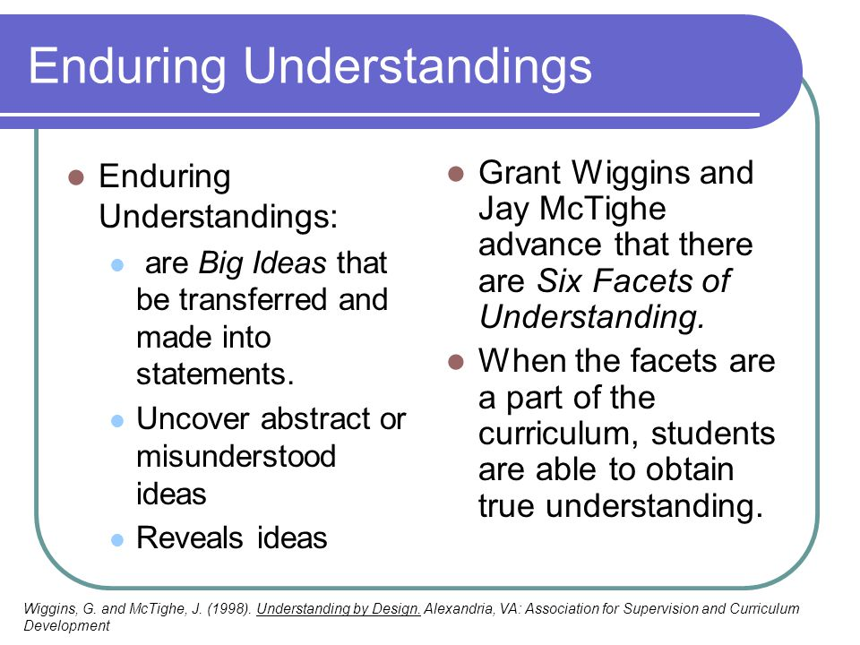 Enduring Understandings Enduring Understandings: are Big Ideas that be transferred and made into statements. Uncover abstract or misunderstood ideas R