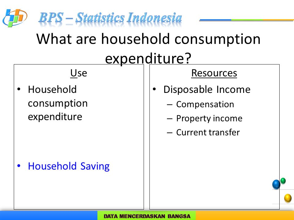 What are household consumption expenditure? Use Household consumption expenditure Household Saving Resources Disposable Income – Compensation – Proper