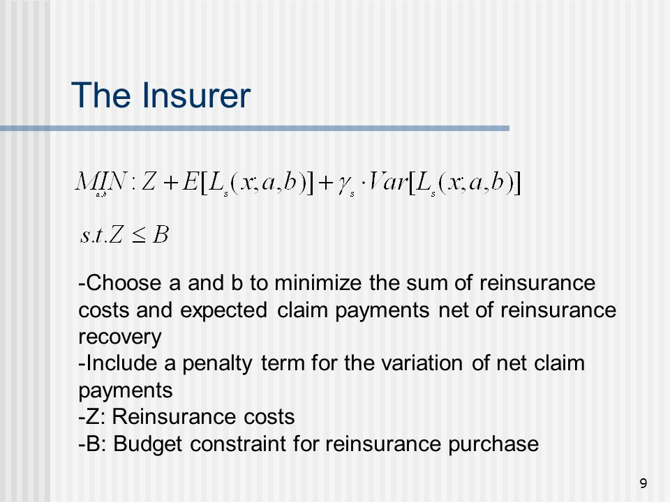 9 The Insurer -Choose a and b to minimize the sum of reinsurance costs and expected claim payments net of reinsurance recovery -Include a penalty term for the variation of net claim payments -Z: Reinsurance costs -B: Budget constraint for reinsurance purchase
