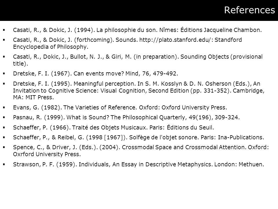 References  Casati, R., & Dokic, J. (1994). La philosophie du son.