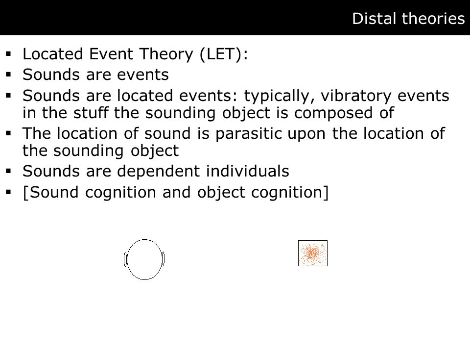 Distal theories  Located Event Theory (LET):  Sounds are events  Sounds are located events: typically, vibratory events in the stuff the sounding object is composed of  The location of sound is parasitic upon the location of the sounding object  Sounds are dependent individuals  [Sound cognition and object cognition]