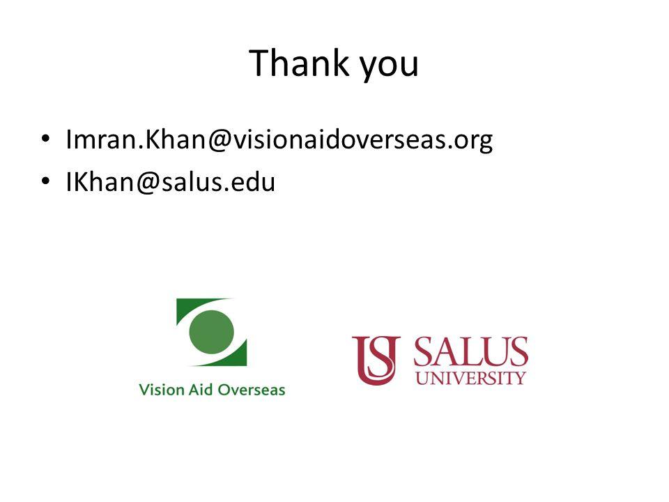 Thank you Imran.Khan@visionaidoverseas.org IKhan@salus.edu