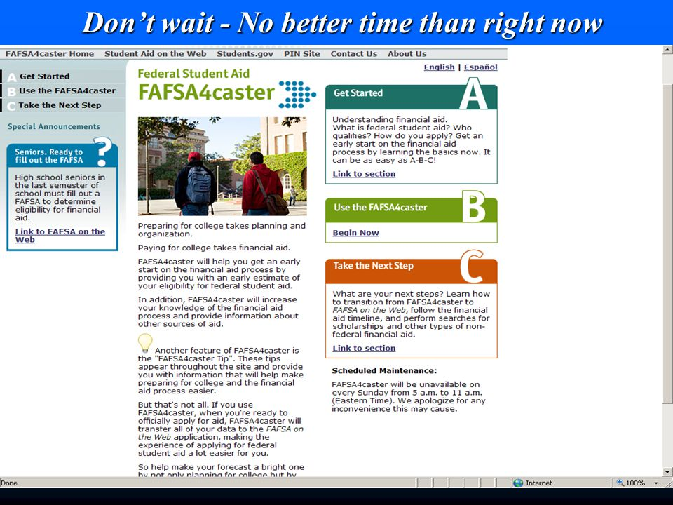 Don't wait - No better time than right now