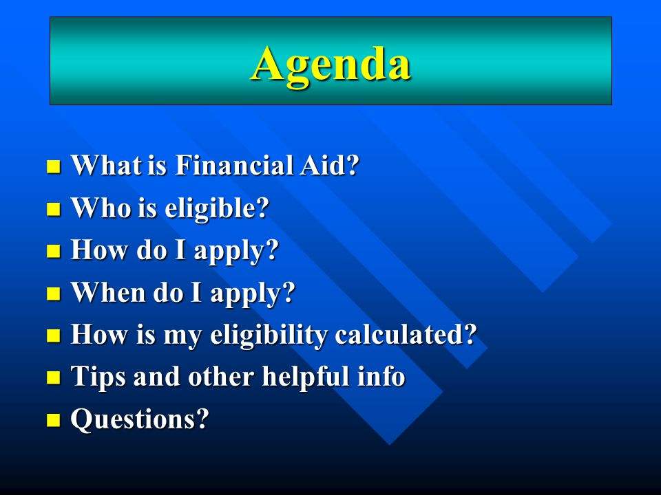 An Overview Grants – free money, usually based on need Grants – free money, usually based on need Loans – money that must be paid back Loans – money that must be paid back Employment – earn a paycheck to help with non-billed college expenses Employment – earn a paycheck to help with non-billed college expenses Scholarships – free money, various criteria Scholarships – free money, various criteria What is financial aid?