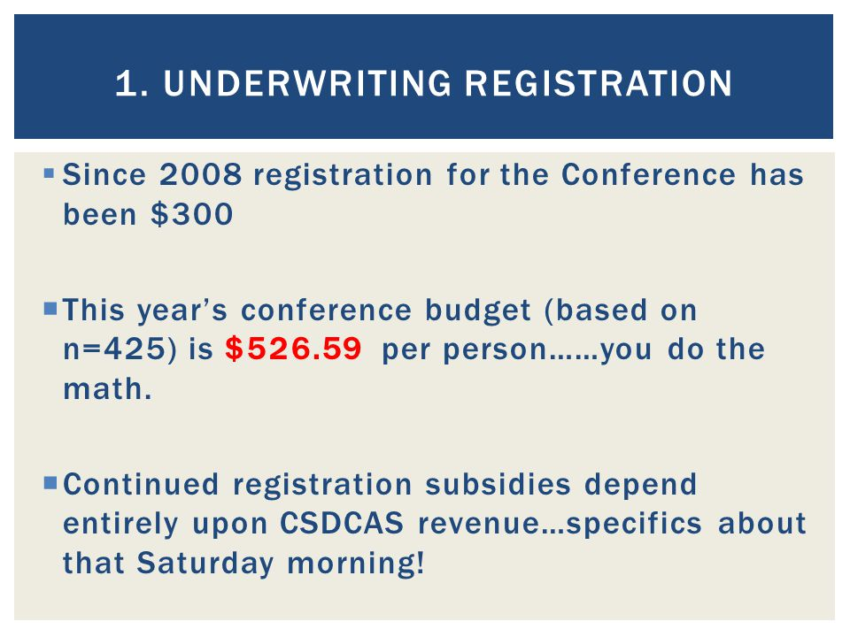 1. UNDERWRITING REGISTRATION  Since 2008 registration for the Conference has been $300  This year's conference budget (based on n=425) is $526.59 pe