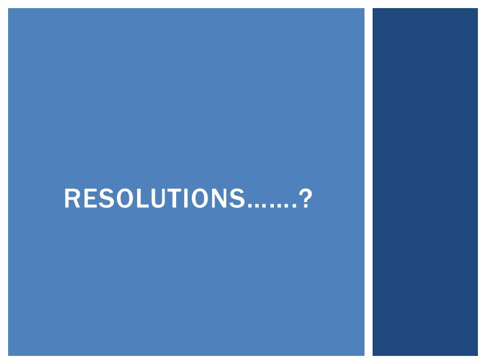 RESOLUTIONS…….?