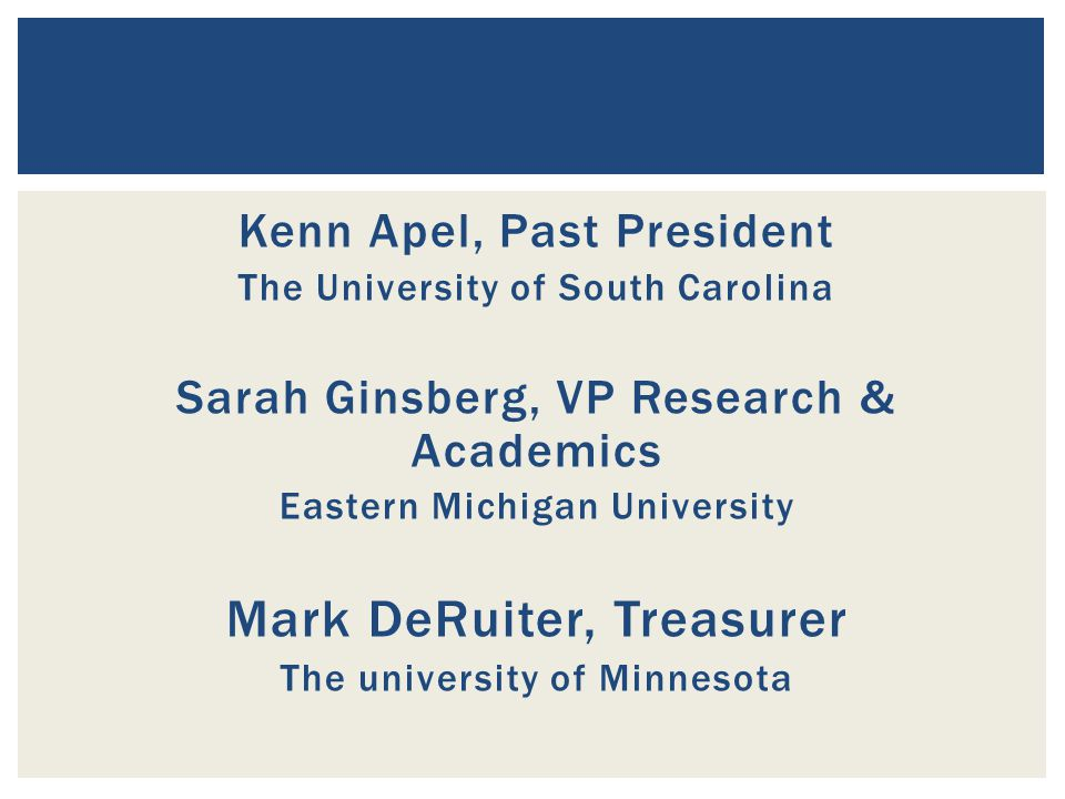Kenn Apel, Past President The University of South Carolina Sarah Ginsberg, VP Research & Academics Eastern Michigan University Mark DeRuiter, Treasurer The university of Minnesota