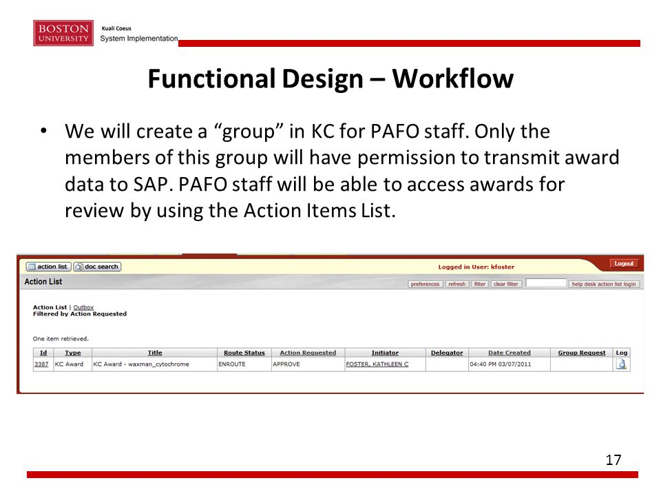 "Functional Design – Workflow We will create a ""group"" in KC for PAFO staff. Only the members of this group will have permission to transmit award data"