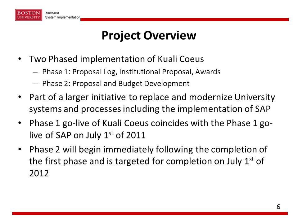 Project Overview Two Phased implementation of Kuali Coeus – Phase 1: Proposal Log, Institutional Proposal, Awards – Phase 2: Proposal and Budget Devel