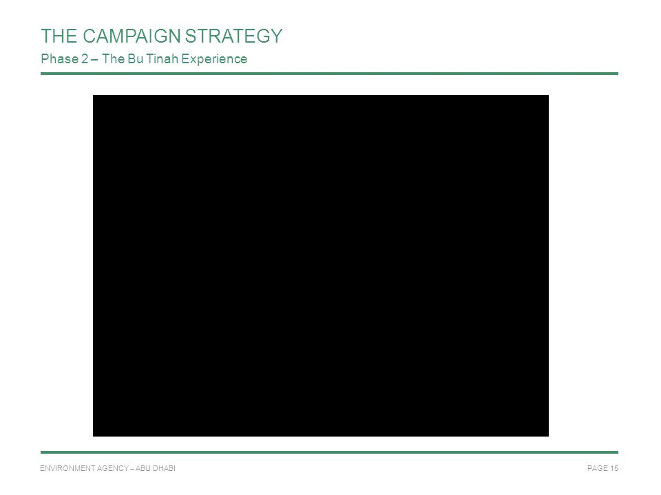 PAGE 15 ENVIRONMENT AGENCY – ABU DHABI THE CAMPAIGN STRATEGY Quick time movie Phase 2 – The Bu Tinah Experience