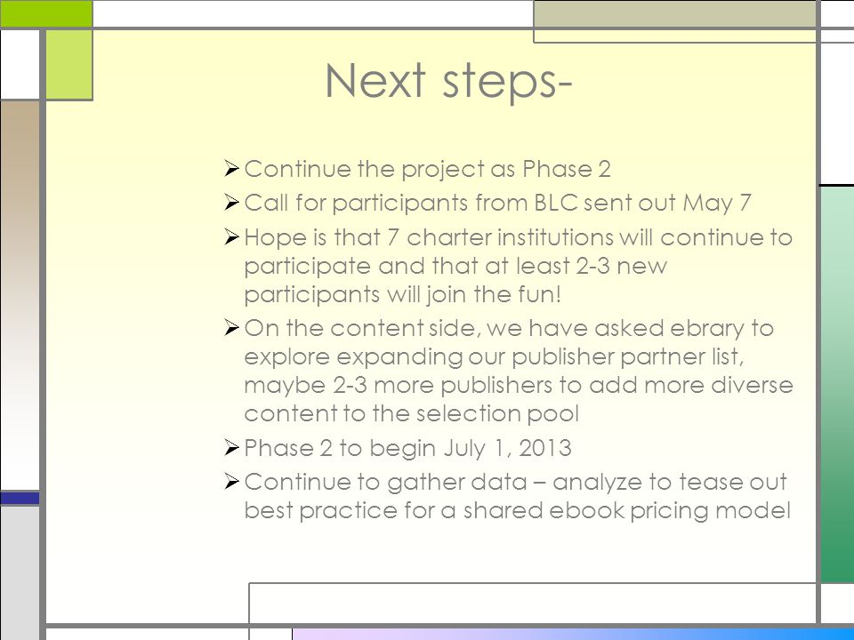 Next steps-  Continue the project as Phase 2  Call for participants from BLC sent out May 7  Hope is that 7 charter institutions will continue to participate and that at least 2-3 new participants will join the fun.