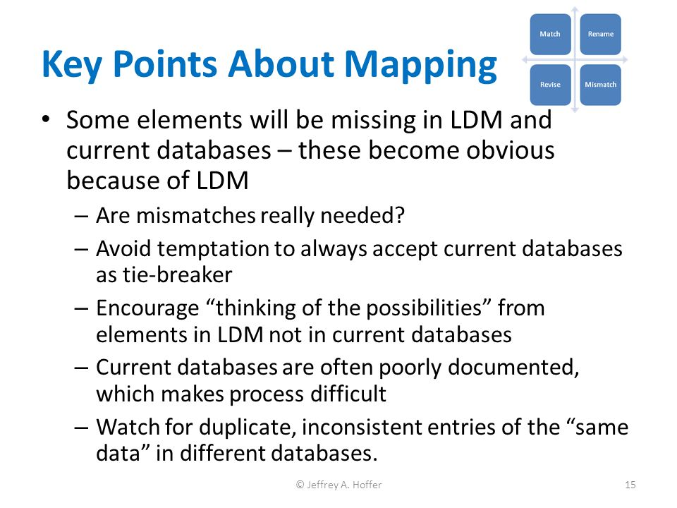 Key Points About Mapping Some elements will be missing in LDM and current databases – these become obvious because of LDM – Are mismatches really need