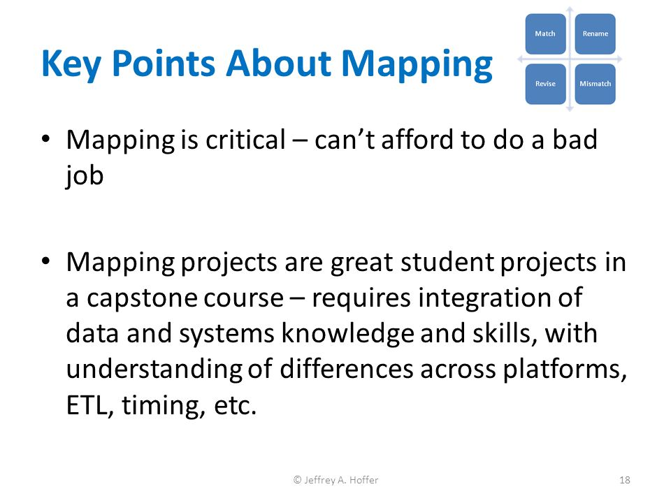 Mapping is critical – can't afford to do a bad job Mapping projects are great student projects in a capstone course – requires integration of data and
