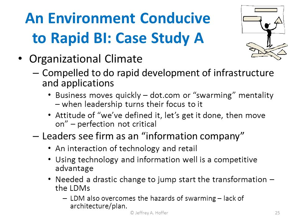 An Environment Conducive to Rapid BI: Case Study A Organizational Climate – Compelled to do rapid development of infrastructure and applications Busin