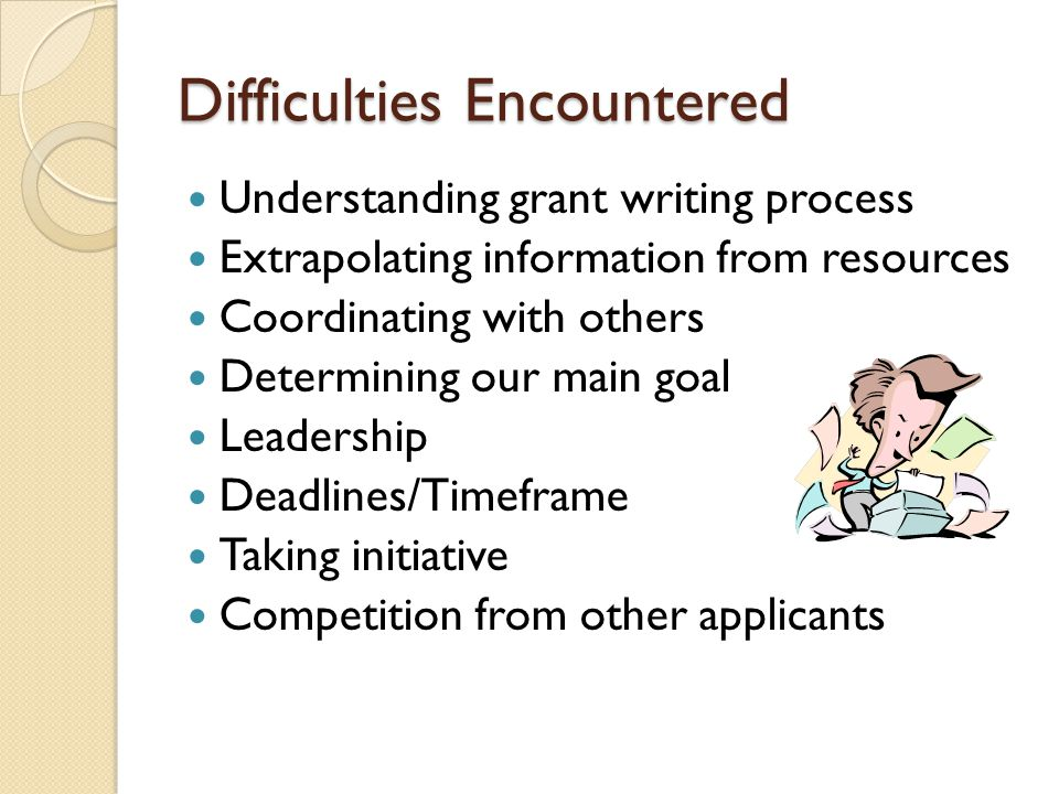 Difficulties Encountered Understanding grant writing process Extrapolating information from resources Coordinating with others Determining our main goal Leadership Deadlines/Timeframe Taking initiative Competition from other applicants