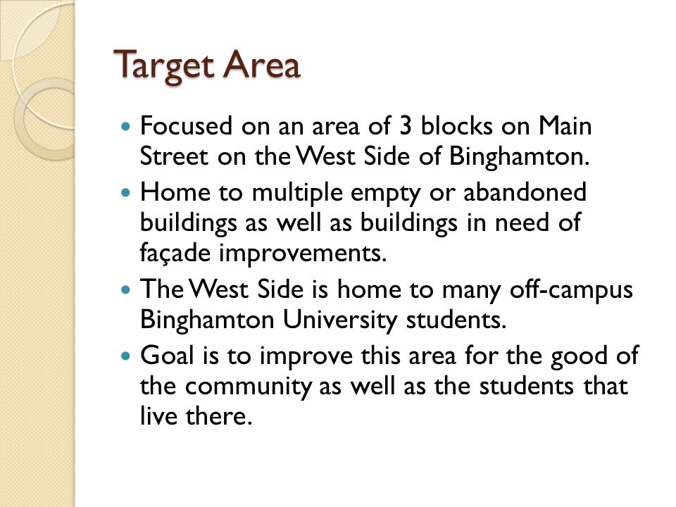 Target Area Focused on an area of 3 blocks on Main Street on the West Side of Binghamton.