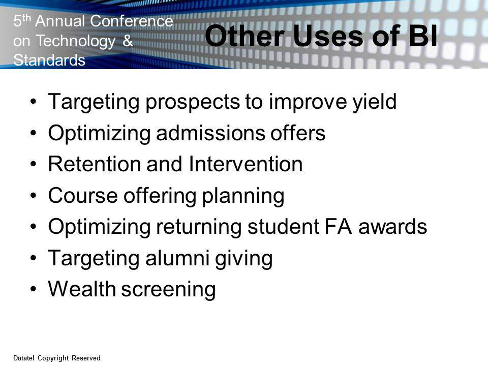 5 th Annual Conference on Technology & Standards Other Uses of BI Targeting prospects to improve yield Optimizing admissions offers Retention and Inte
