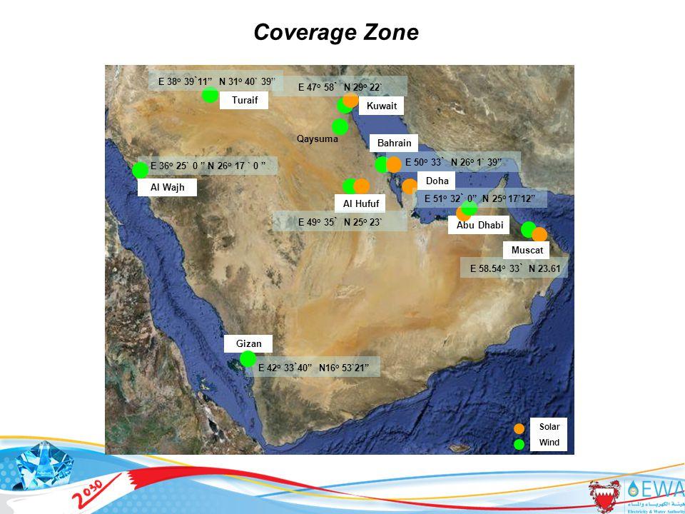 10 Gizan Al Wajh Turaif Qaysuma Al Hufuf Abu Dhabi Coverage Zone E 36 o 25` 0 N 26 o 17 ` 0 E 38 o 39 ` 11 N 31 o 40` 39 E 50 o 33 ` N 26 o 1` 39 Bahrain E 51 o 32 ` 0 N 25 o 17`12 Doha E 58.54 o 33 ` N 23.61 Muscat E 42 o 33 ` 40 N16 o 53`21 Kuwait E 49 o 35 ` N 25 o 23` E 47 o 58 ` N 29 o 22` Solar Wind