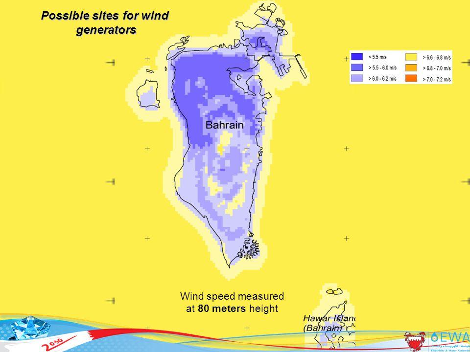 37 Possible sites for wind generators generators Wind speed measured at 80 meters height