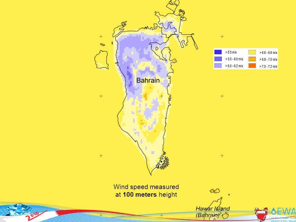 38 Wind speed measured at 100 meters height