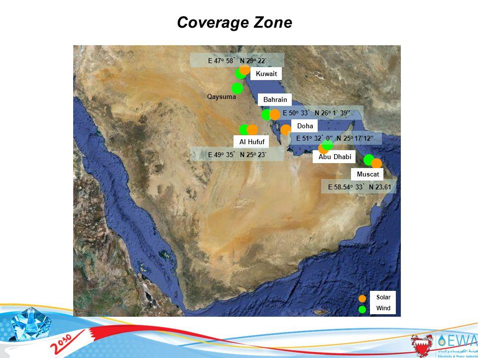 9 Qaysuma Al Hufuf Abu Dhabi Coverage Zone E 50 o 33 ` N 26 o 1` 39 Bahrain E 51 o 32 ` 0 N 25 o 17`12 Doha E 58.54 o 33 ` N 23.61 Muscat Kuwait E 49 o 35 ` N 25 o 23` E 47 o 58 ` N 29 o 22` Solar Wind