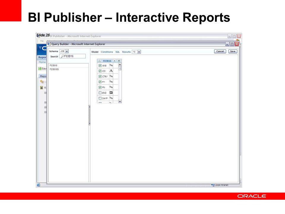BI Publisher – Interactive Reports