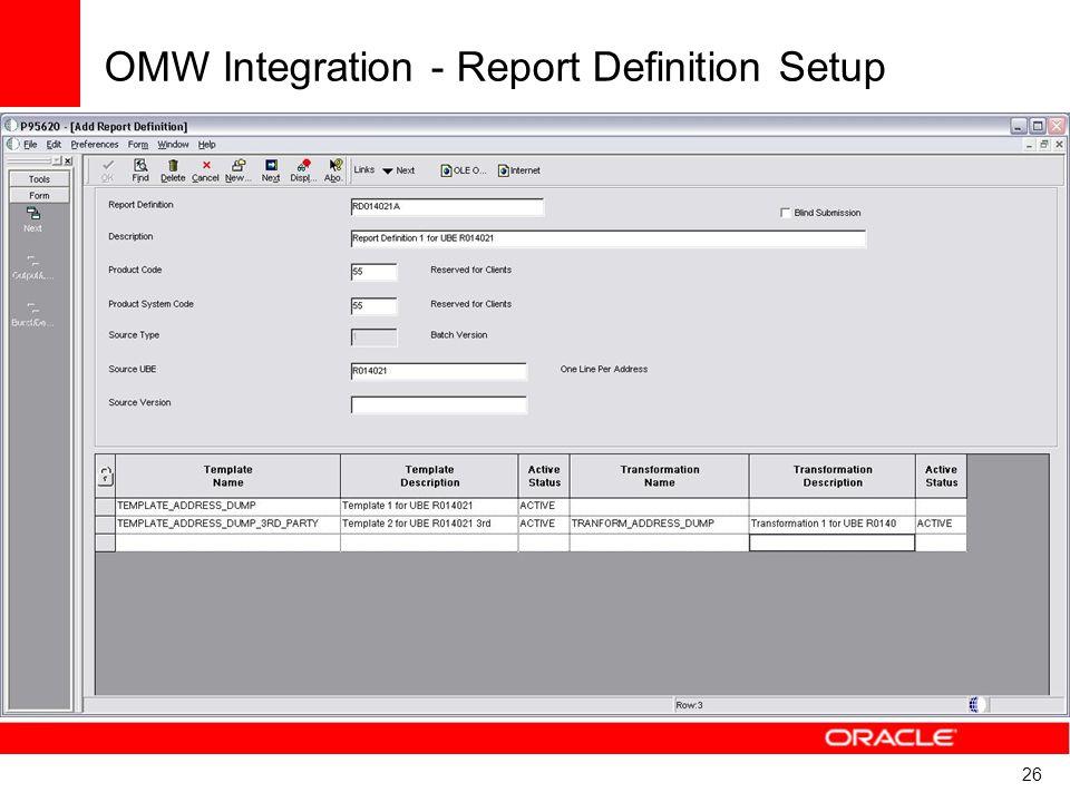 26 OMW Integration - Report Definition Setup