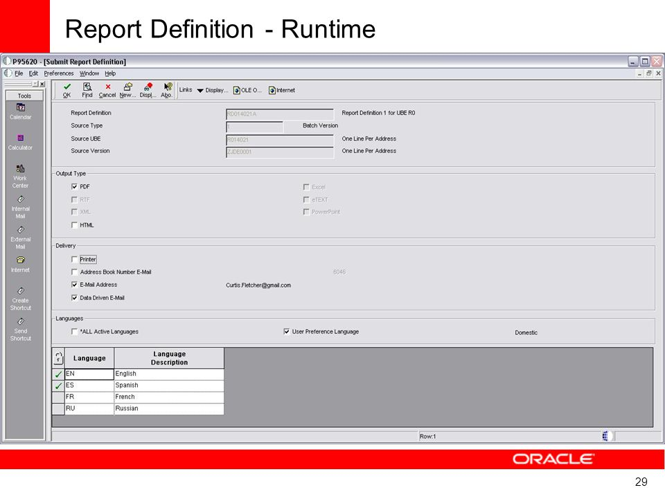 29 Report Definition - Runtime
