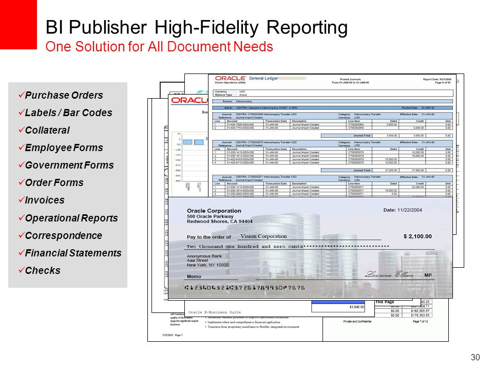 30 BI Publisher High-Fidelity Reporting One Solution for All Document Needs Employee Forms Order Forms Invoices Operational Reports Correspondence Fin