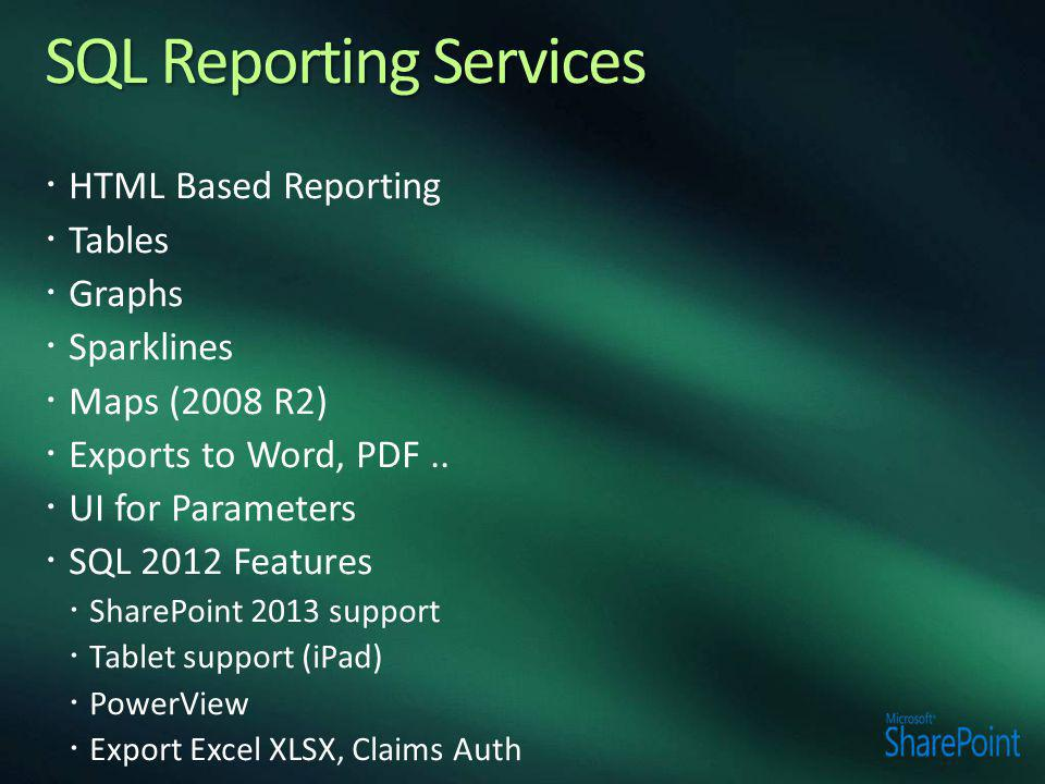  HTML Based Reporting  Tables  Graphs  Sparklines  Maps (2008 R2)  Exports to Word, PDF..