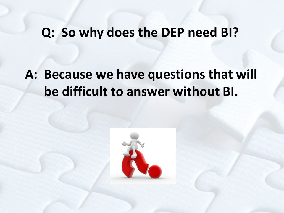 Q: So why does the DEP need BI? A: Because we have questions that will be difficult to answer without BI.