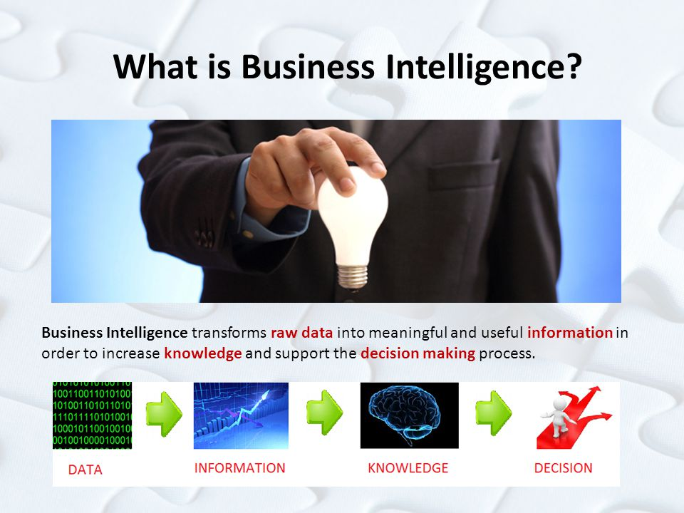 What is Business Intelligence? Business Intelligence transforms raw data into meaningful and useful information in order to increase knowledge and sup