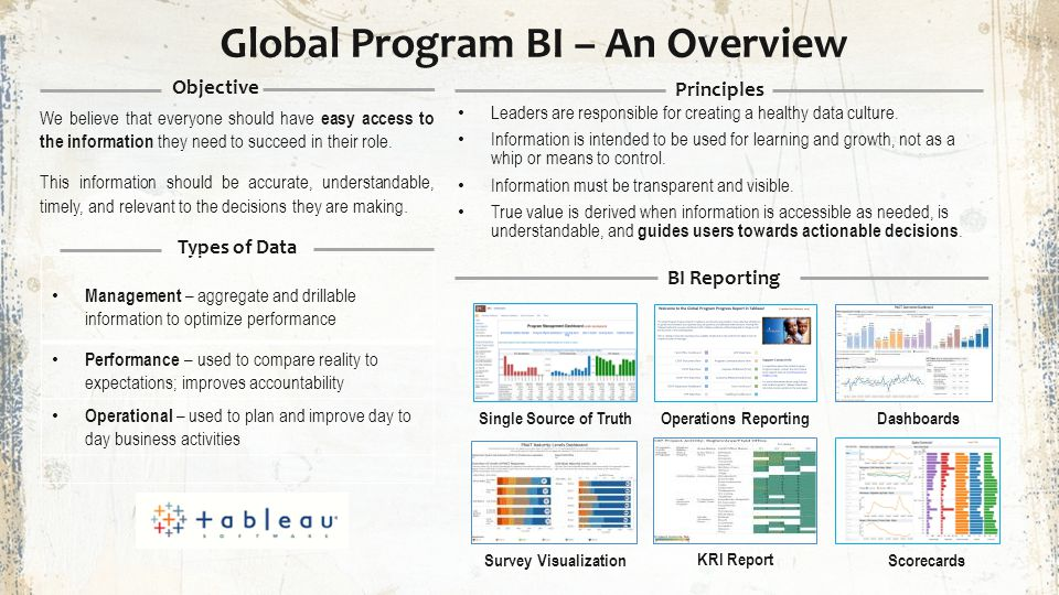 Global Program BI – An Overview We believe that everyone should have easy access to the information they need to succeed in their role. This informati